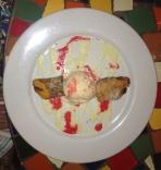 Banana Roll Dessert with Mango Ice Cream
