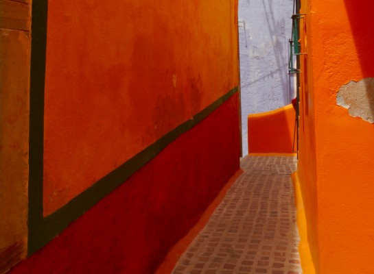 Colorful homes line the narrow alleyways