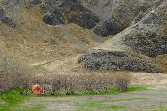 Kleifar Campground near the falls