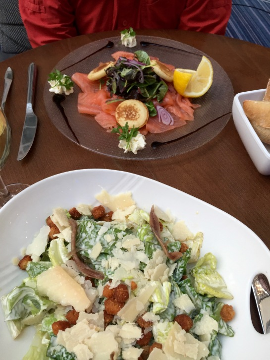 Dinner of caesar salad and salmon, delicious!