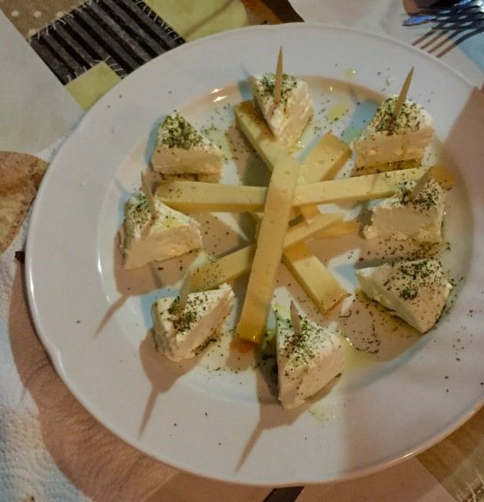 Appetizer of goat cheese and another sharp cheese, delish!