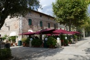 Cafes along the main square in Saturnia